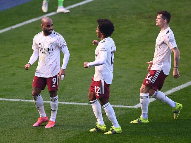 Arsenal's Alexandre Lacazette celebrates scoring against Leicester City in the Premier League on February 28, 2021