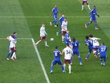 Arsenal's David Luiz scores against Leicester City in the Premier League on February 28, 2021