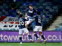 Millwall's George Evans celebrates scoring against Luton Town in the Championship on February 23, 2021