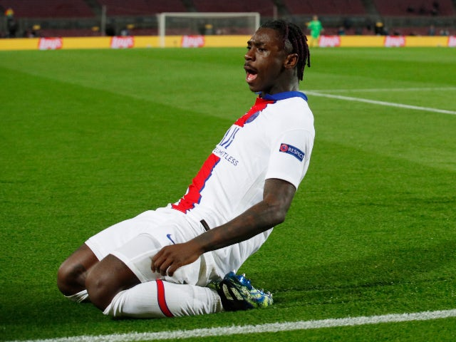 Moise Kean in action for Paris Saint-Germain in February 2021