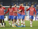 Granada players celebrate overcoming Napoli in the Europa League on February 25, 2021