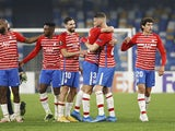 Granada players celebrate overcoming Napoli in the Europa League on February 25, 2021