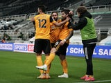 Ruben Neves celebrates scoring for Wolverhampton Wanderers against Newcastle United in the Premier League on February 27, 2021