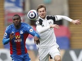 Crystal Palace's Christian Benteke in action with Fulham's Joachim Andersen in the Premier League on February 28, 2021