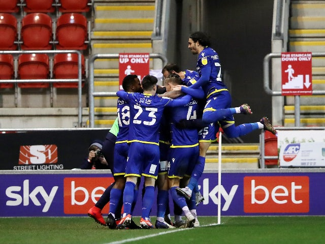 Nottingham Forest's Ryan Yates celebrates after scoring their first goal against Rotherham in the Championship on February 23, 2021