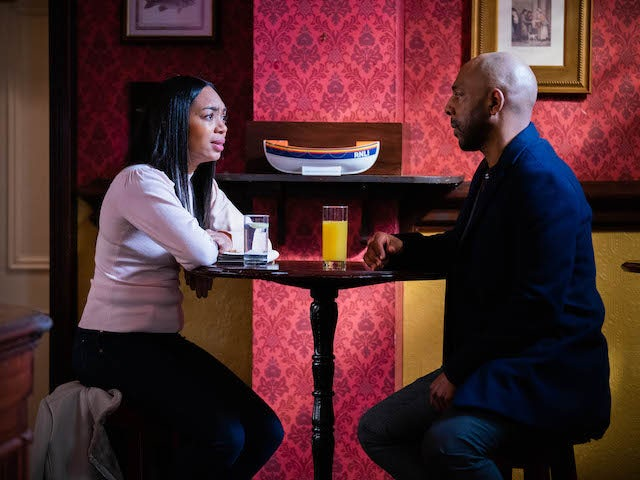 Chelsea and Lucas on EastEnders on March 8, 2021