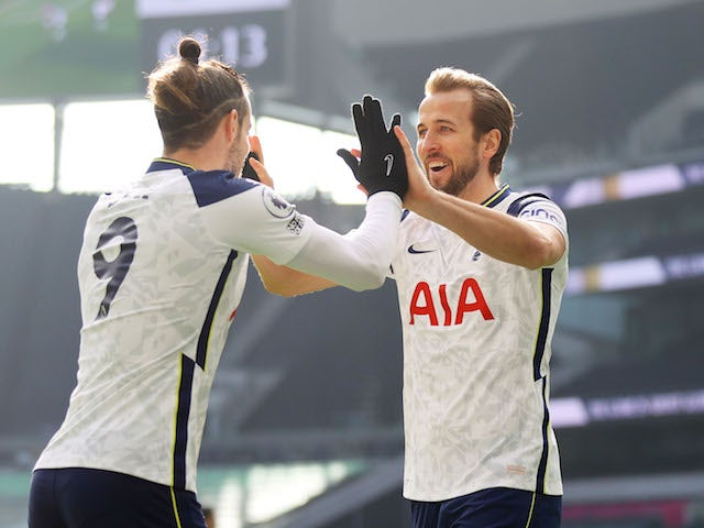 Tottenham Hotspur's Harry Kane and Gareth Bale celebrate a goal against Burnley in the Premier League on February 28, 2021