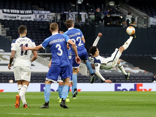Tottenham Hotspur's Dele Alli scores against Wolfsberger in the Europa League on February 24, 2021