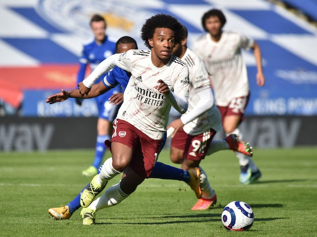 Arsenal attacker Willian pictured in action against Leicester City on February 28, 2021