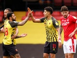 Watford's Adam Masina celebrates scoring against Nottingham Forest in the Championship on March 6, 2021