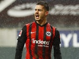 Andre Silva celebrates scoring for Eintracht Frankfurt on January 30, 2021