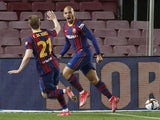 Barcelona's Martin Braithwaite celebrates scoring against Sevilla in the Copa del Rey on March 3, 2021
