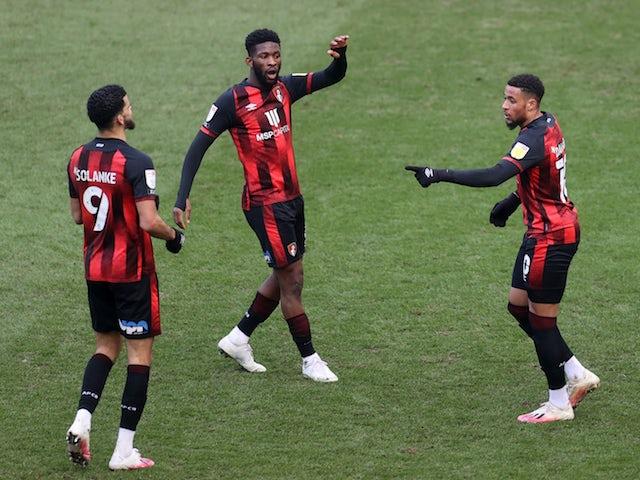 Bournemouth's Arnaut Danjuma celebrates scoring their first goal with teammates on March 6, 2021