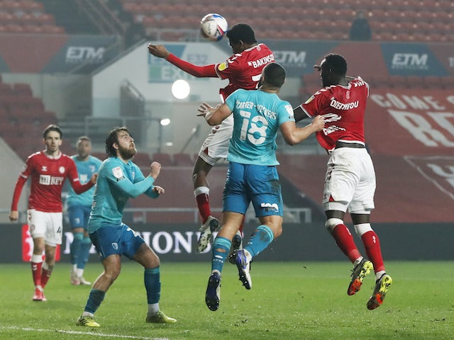 Bristol City's Tyreeq Bakinson scores against Bournemouth in the Championship on March 3, 2021