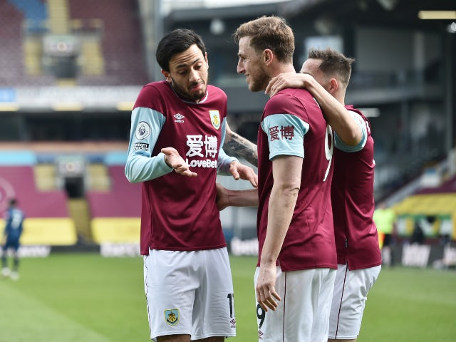 Chris Wood celebrates with teammates after scoring for Burnley against Arsenal in the Premier League on March 6, 2021
