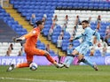 Coventry City's Maxime Biamou scores their first goal on March 6, 2021