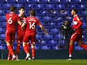 Middlesbrough's Grant Hall celebrates scoring their first goal against Coventry City in the Championship on March 2, 2021