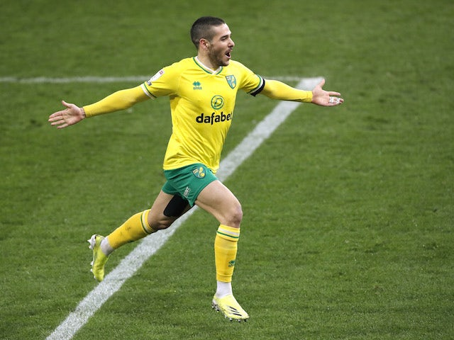 Norwich City's Emiliano Buendia celebrates scoring against Brentford in the Championship on March 3, 2021
