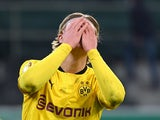 Borussia Dortmund's Erling Braut Haaland plays peekaboo during the DFB-Pokal on March 2, 2021