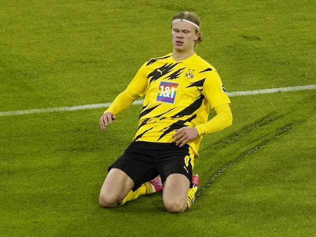 Borussia Dortmund's Erling Braut Haaland on his knees on March 6, 2021