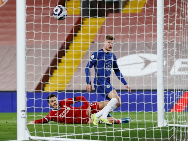 Timo Werner scores a disallowed goal for Chelsea against Liverpool in the Premier League on March 4, 2021