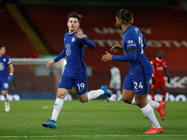 Mason Mount celebrates scoring for Chelsea against Liverpool in the Premier League on March 4, 2021