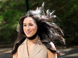 A windswept Meghan Markle in October 2019