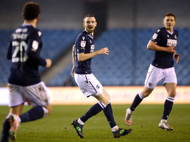 Millwall's Scott Malone celebrates scoring their first goal against Preston North End in the Championship on March 2, 2021