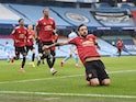 Manchester United's Bruno Fernandes celebrates scoring against Manchester City in the Premier League on March 7, 2021