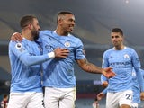 Gabriel Jesus celebrates scoring for Manchester City against Wolverhampton Wanderers in the Premier League on March 2, 2021