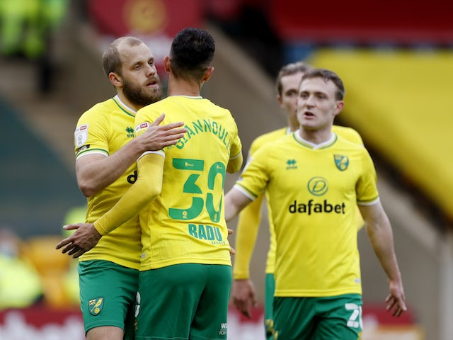 Norwich City's Teemu Pukki celebrates scoring their second goal with teammates on March 6, 2021