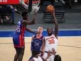 New York Knicks forward Julius Randle puts up a hook shot in the third quarter against the Detroit Pistons on March 5, 2021