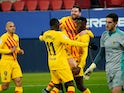 Barcelona's Ilaix Moriba celebrates scoring their second goal against Osasuna in La Liga on March 6, 2021