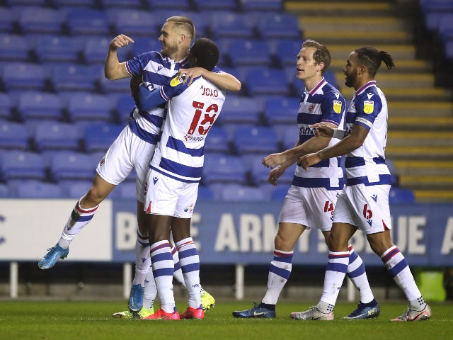 George Puscas celebrates scoring for Reading against Blackburn Rovers in the Championship on March 2, 2021