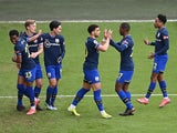 Southampton's James Ward-Prowse celebrates scoring their first goal with teammates on March 6, 2021