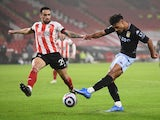 Aston Villa's Ollie Watkins shoots at goal during the Premier League clash with Sheffield United on March 3, 2021