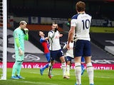 Tottenham Hotspur's Gareth Bale celebrates scoring against Crystal Palace in the Premier League on March 7, 2021