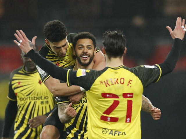 Watford's Andre Gray celebrates scoring against Wycombe Wanderers in the Championship on March 3, 2021