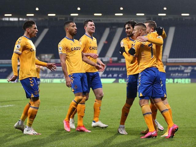 Everton's Richarlison celebrates scoring against West Bromwich Albion in the Premier League on March 4, 2021