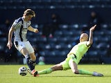 West Bromwich Albion's Conor Gallagher in action with Newcastle United's Jonjo Shelvey in the Premier League on March 7, 2021