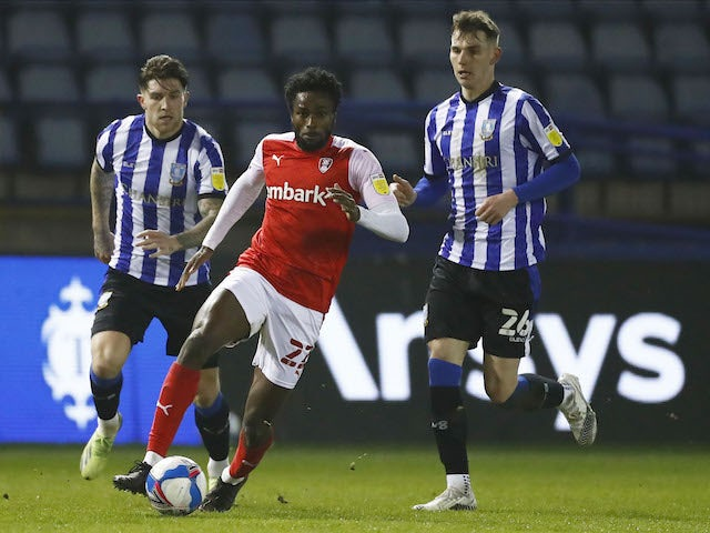 Rotherham United's Matthew Olosunde in action with Sheffield Wednesday's Liam Shaw in the Championship on March 3, 2021