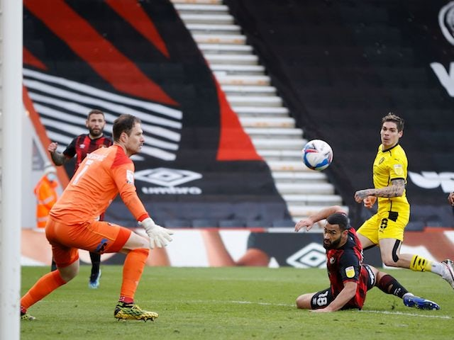 Barnsley's Dominik Frieser scores their second goal on March 13, 2021