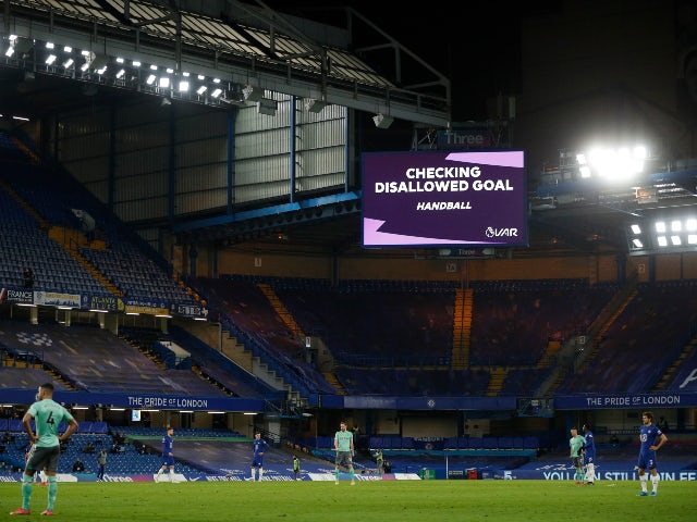 Chelsea's Kai Havertz has a goal disallowed against Everton in the Premier League on March 8, 2021