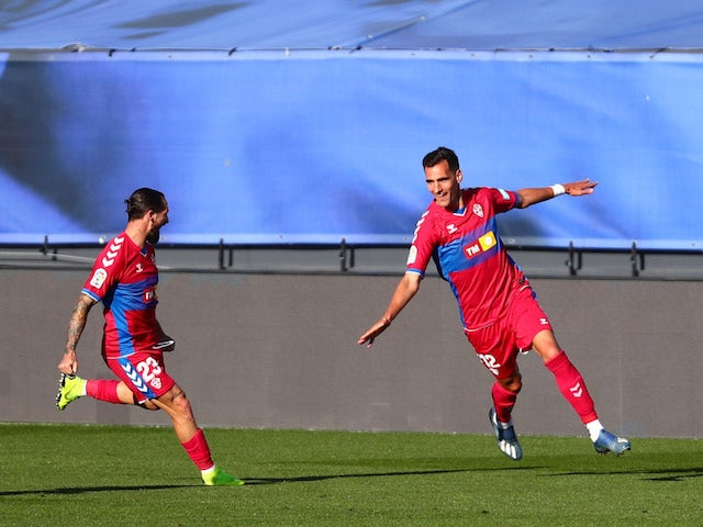 Elche's Dani Calvo celebrates scoring their first goal with Cifu on March 13, 2021
