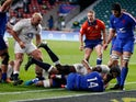 Maro Itoje scores a try for England against France in the Six Nations on March 13, 2021