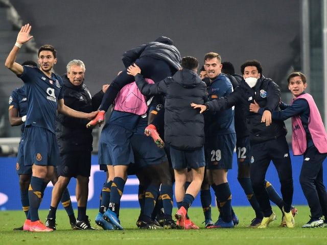 Porto celebrate beating Juventus in the Champions League on March 9, 2021
