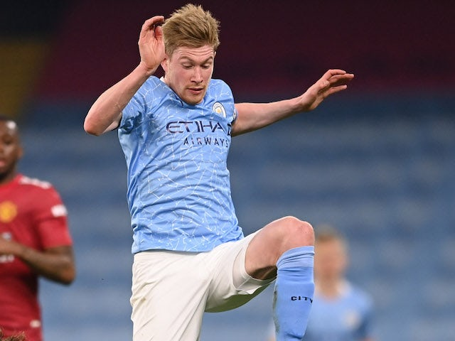 Kevin De Bruyne in action for Manchester City during the derby on March 7, 2021