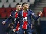 Paris Saint-Germain's Kylian Mbappe celebrates scoring against Barcelona in the Champions League on March 10, 2021