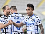 nter Milan's Lautaro Martinez celebrates scoring against Torino in Serie A on March 14, 2021