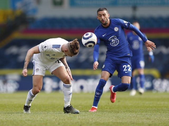 Leeds United's Kalvin Phillips in action with Chelsea's Hakim Ziyech in the Premier League on March 13, 2021